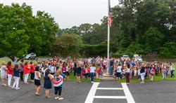 Forest Brook was a sea of red, white & blue as we gathered by the flagpole for the Pledge of Allegia