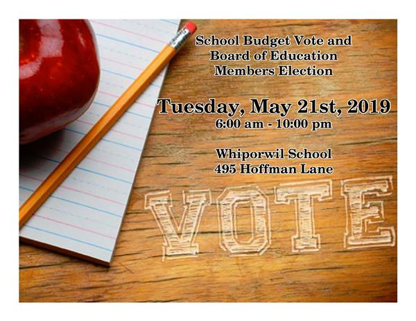 SCHOOL BUDGET VOTE AND BOARD OF EDUCATION MEMBERS ELECTION, TUESDAY, MAY 21ST, 2019 FROM 6:00 AM TO 10:00 PM AT THE WHIPORWIL SCHOOL AT 495 HOFFMAN LANE IN HAUPPAUGE, NY.
