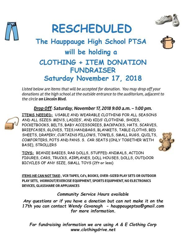 Hauppauge HS PTSA is Holding a Clothing and Item Donation Fundraiser, November 17, 2018