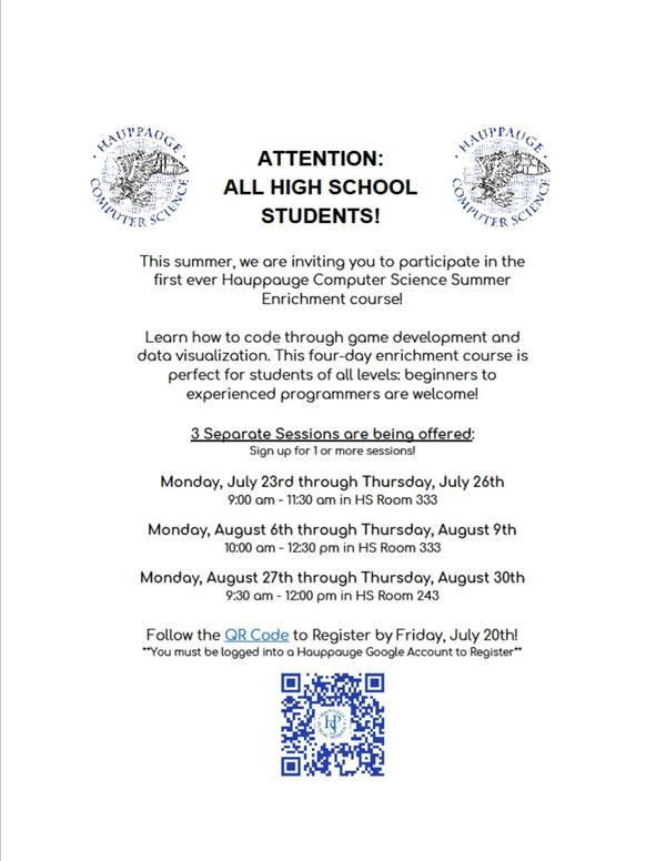ATTENTION ALL HIGH SCHOOL STUDENTS!