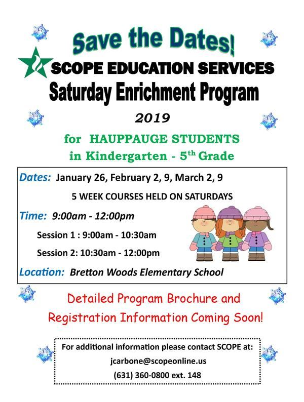 SCOPE SATURDAY ENRICHMENT PROGRAM