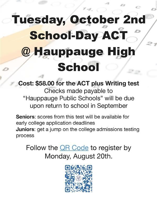 ATTENTION 11th and 12th GRADE STUDENTS!  SIGN UP FOR SCHOOL DAY ACT TEST!