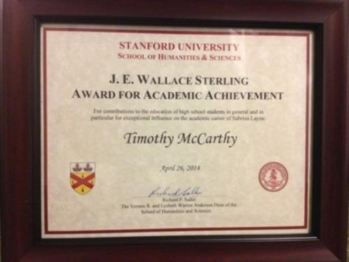Standford U Award to Tim McCarthy